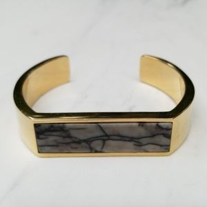 J. Crew gold and black gray marble cuff bracelet
